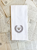 Crown Linen Towel - Bumble Bee - White