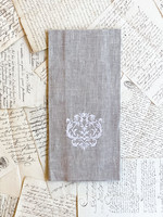 Crown Linen Towel - Damask - Flax