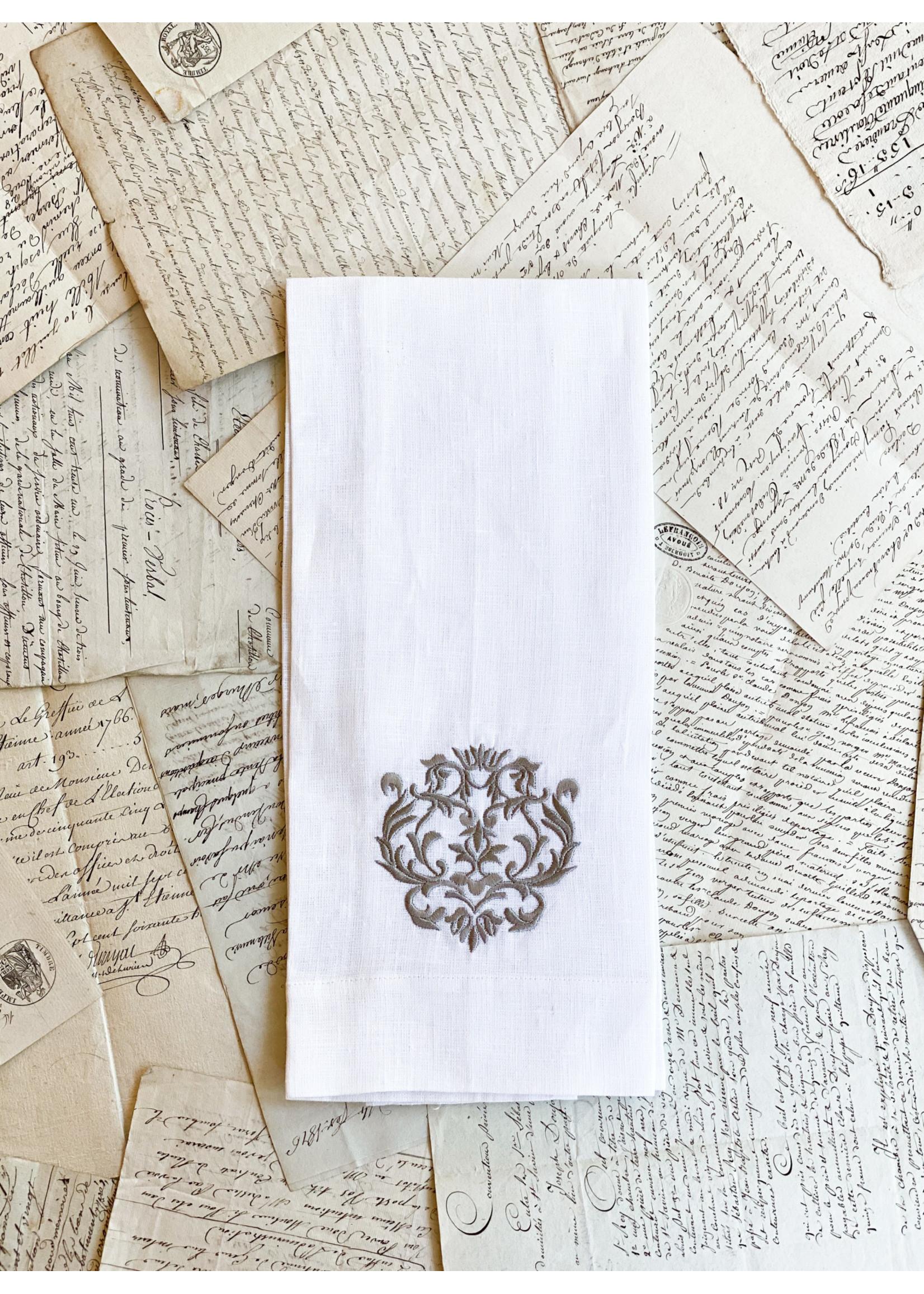 Crown Linen Towel - Damask - White