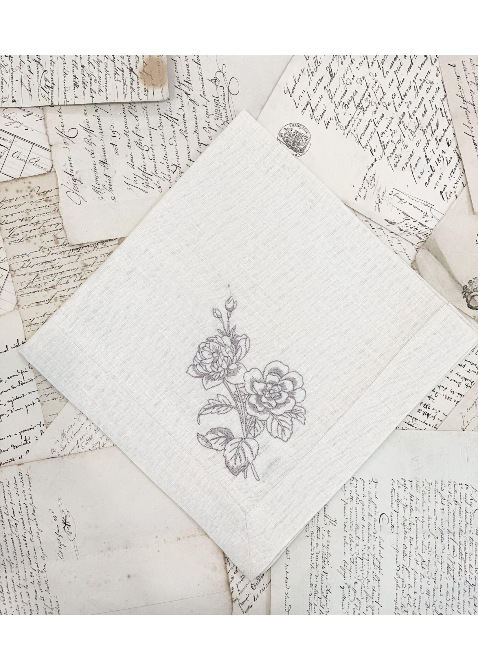 Crown Linen Napkin Large - Giulietta Flower - Cream (Taupe)