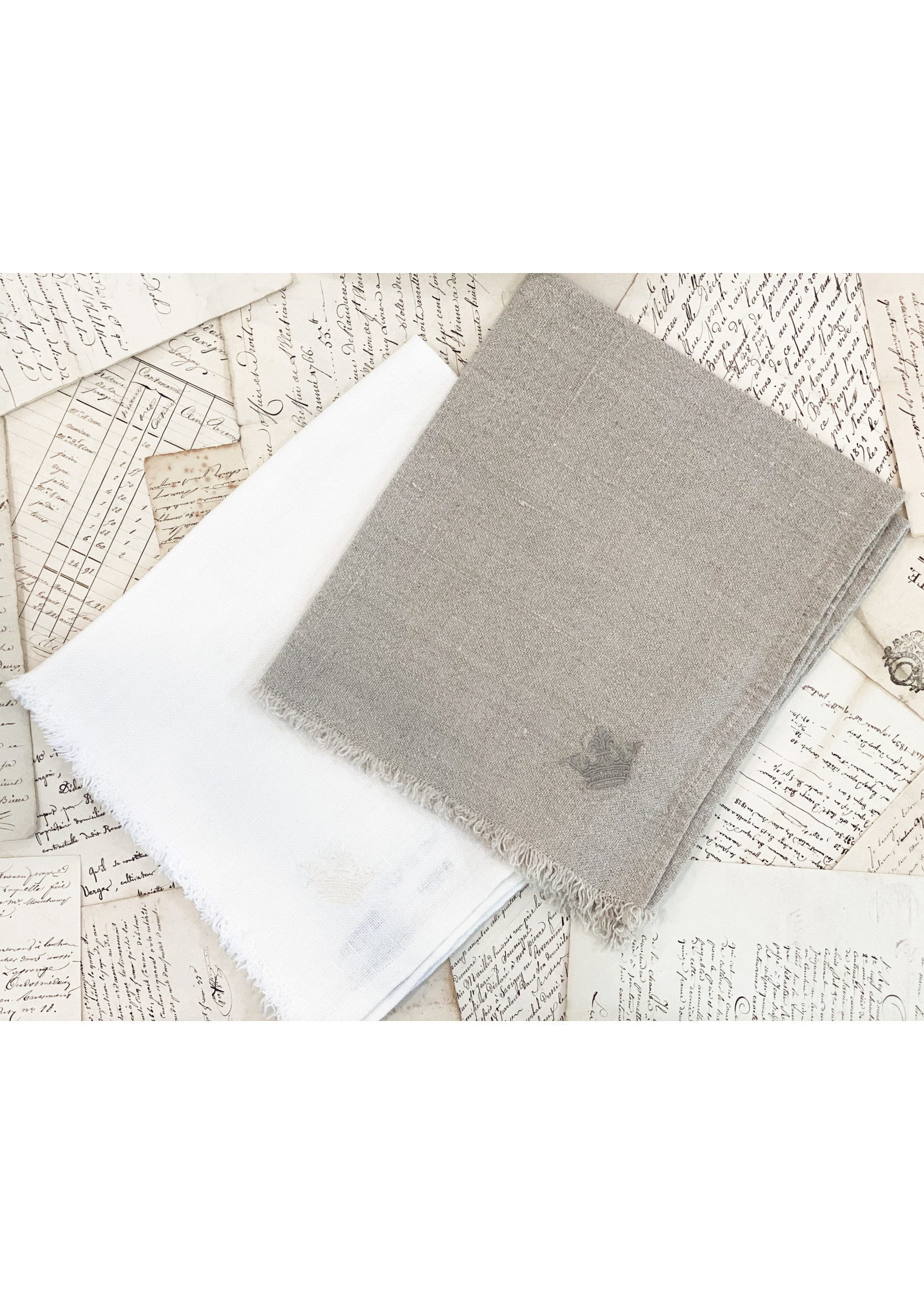 Crown Linen Napkin - Provence Fringe - Off White