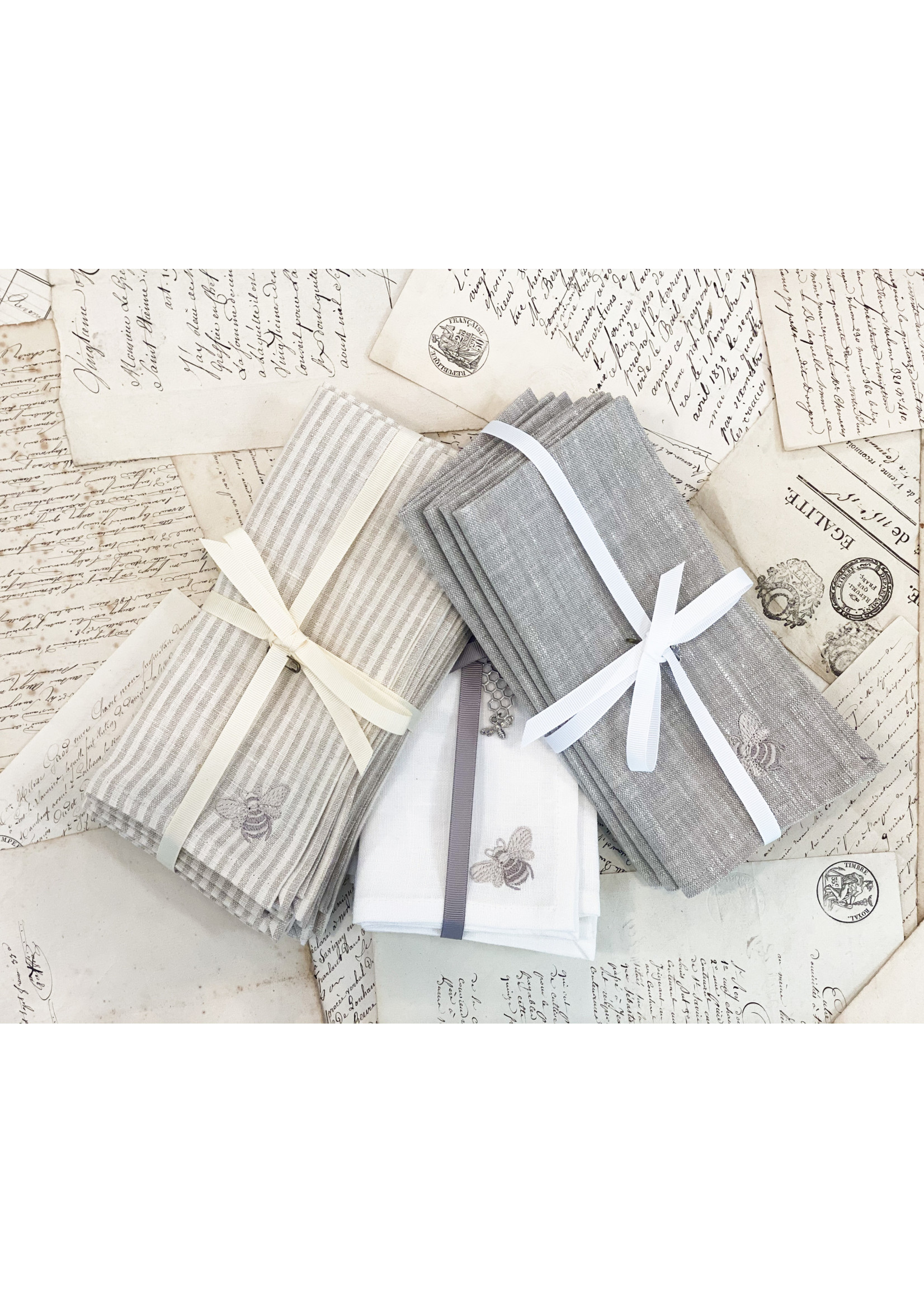 Crown Linen Napkin Luncheonette Bumble Bee - Flax (Set of 4)