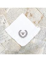 Crown Linen Napkin - Bumble Bee - White - Ruffle