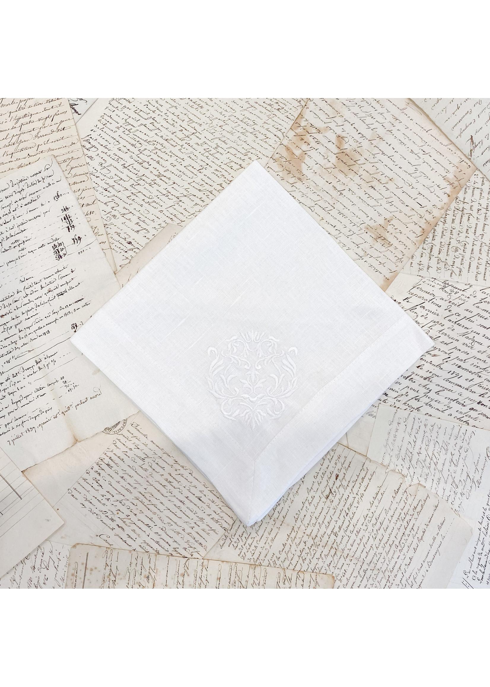 Crown Linen Napkin - Damask - White/White
