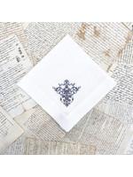 Crown Linen Napkin - Victorian - White/Grey