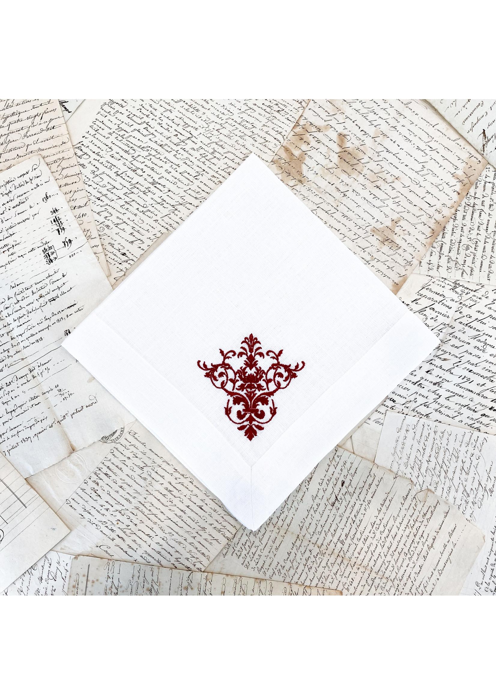 Crown Linen Napkin - Victorian - White/Red