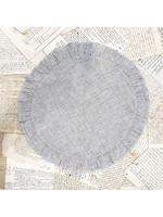 Crown Linen Placemat - Round Ruffle - Grey Pinstripe