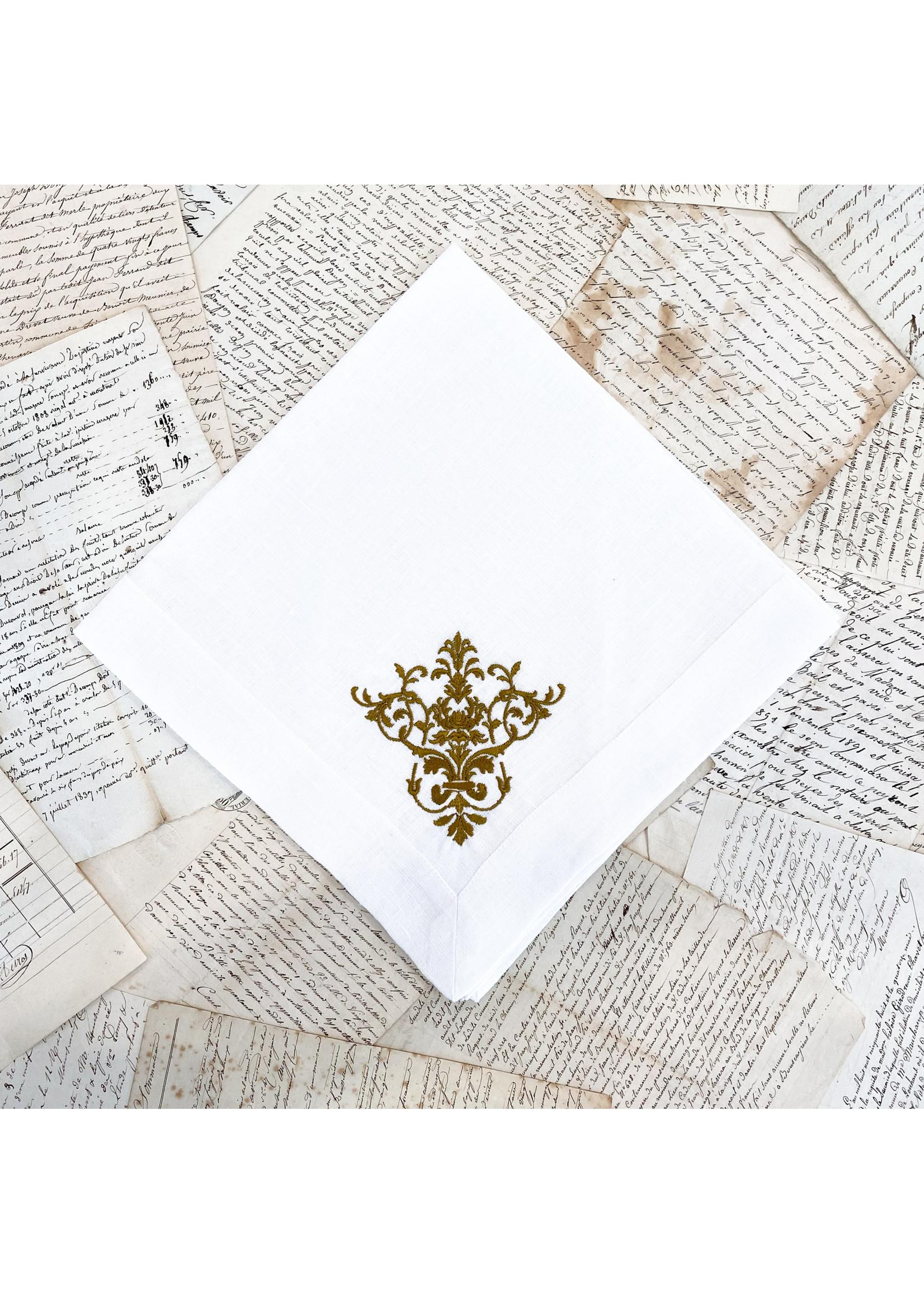 Crown Linen Large Napkin - Victorian -  White/Gold