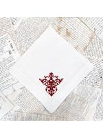 Crown Linen Large Napkin - Victorian - Cream/Red