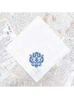 Crown Linen Large Napkin - Damask - Cream/French Blue