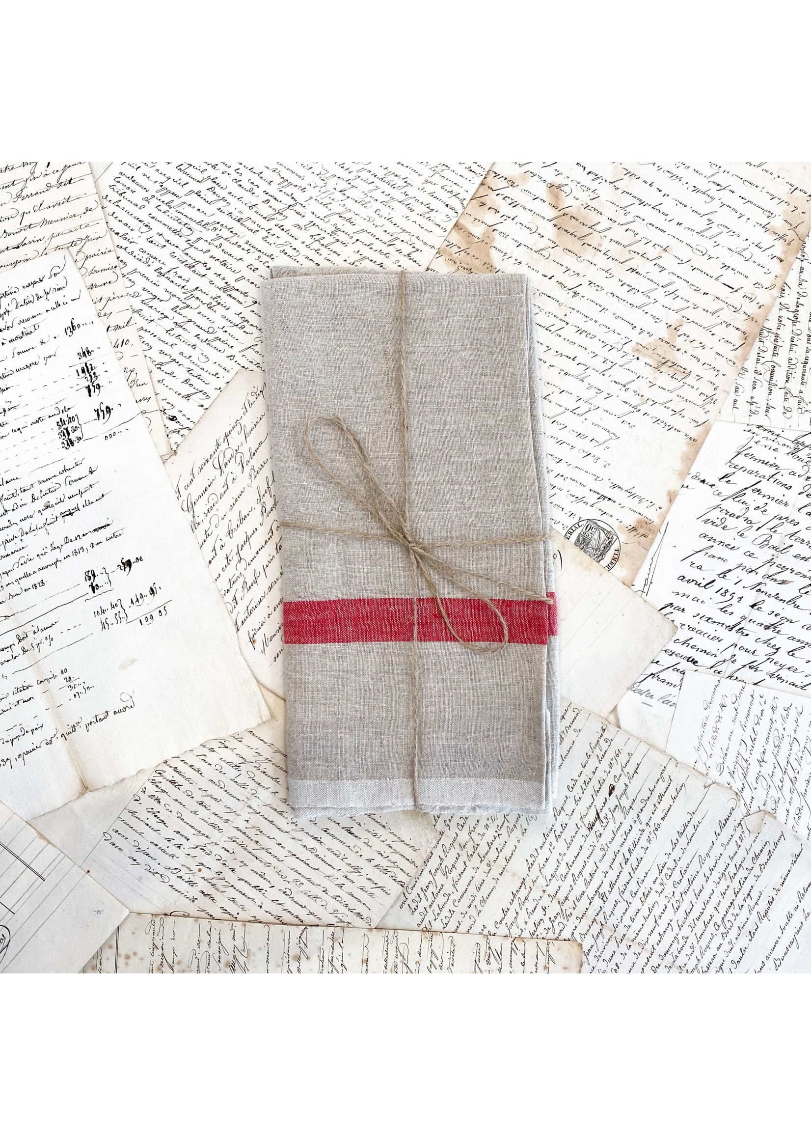 Laundered Linen Tea Towel - Natural and Red