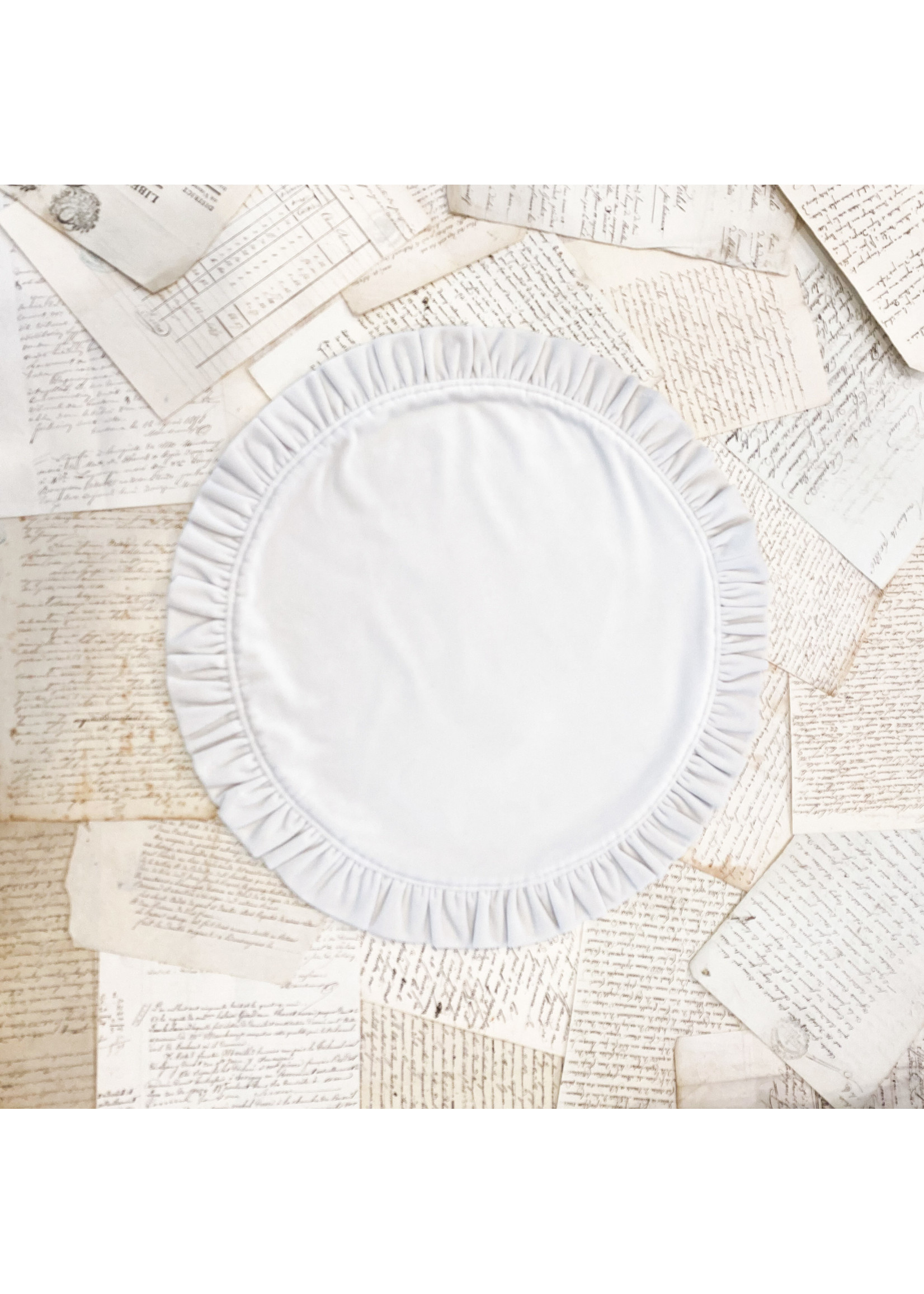 Crown Linen Placemat - Round Ruffle - Velvet Cream