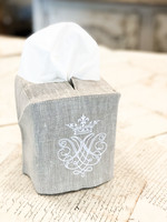 Crown Linen Tissue Box Cover - Crest - Flax