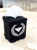Crown Linen Tissue Box Cover -  Bumble Bee - Black