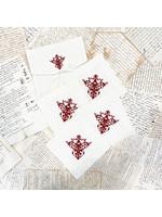 Crown Linen Cocktail Napkin Set - Victorian - Cream/Red(set of 4)