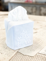 Henry Handwork Tissue Box Cover - Jardin White with White