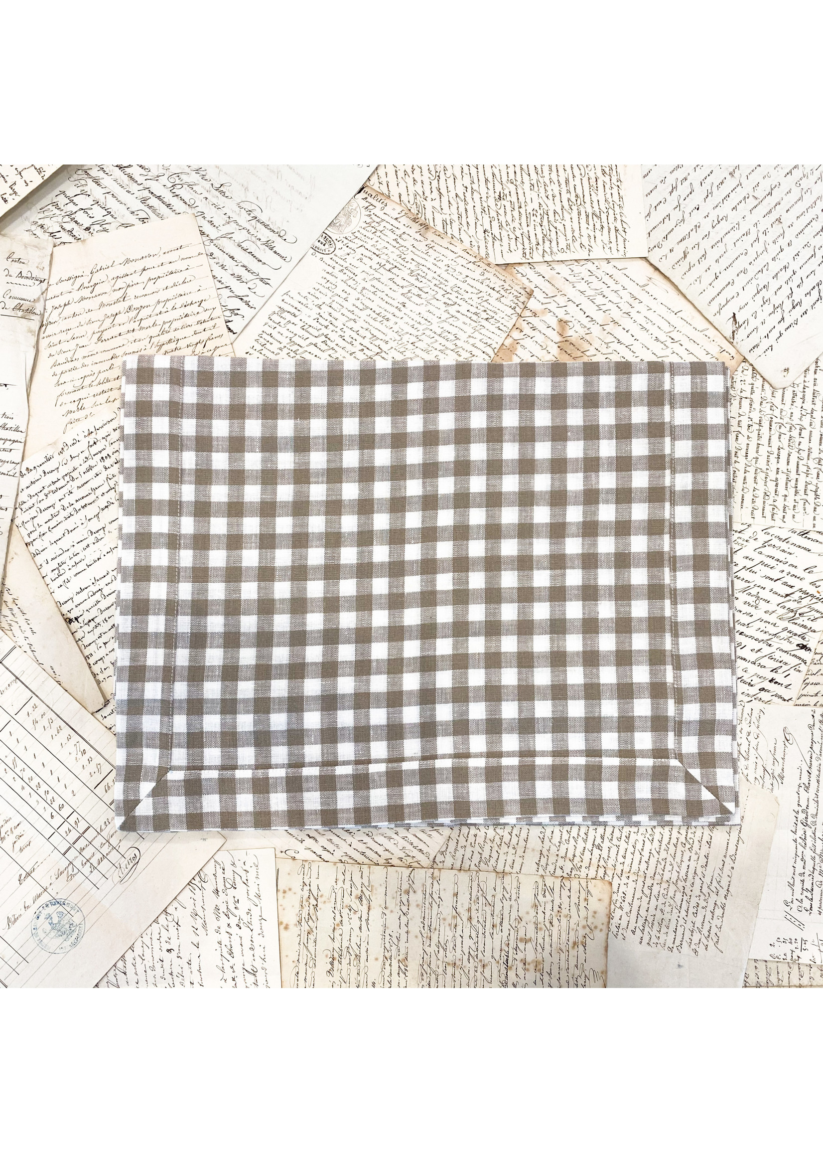 Crown Linen Runner - Checkered - Taupe - 90""