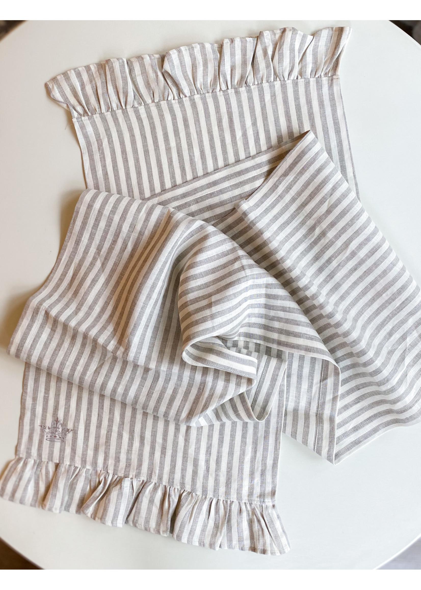 "Crown Linen Runner - Plain - Stripe - Ruffle - 90"""