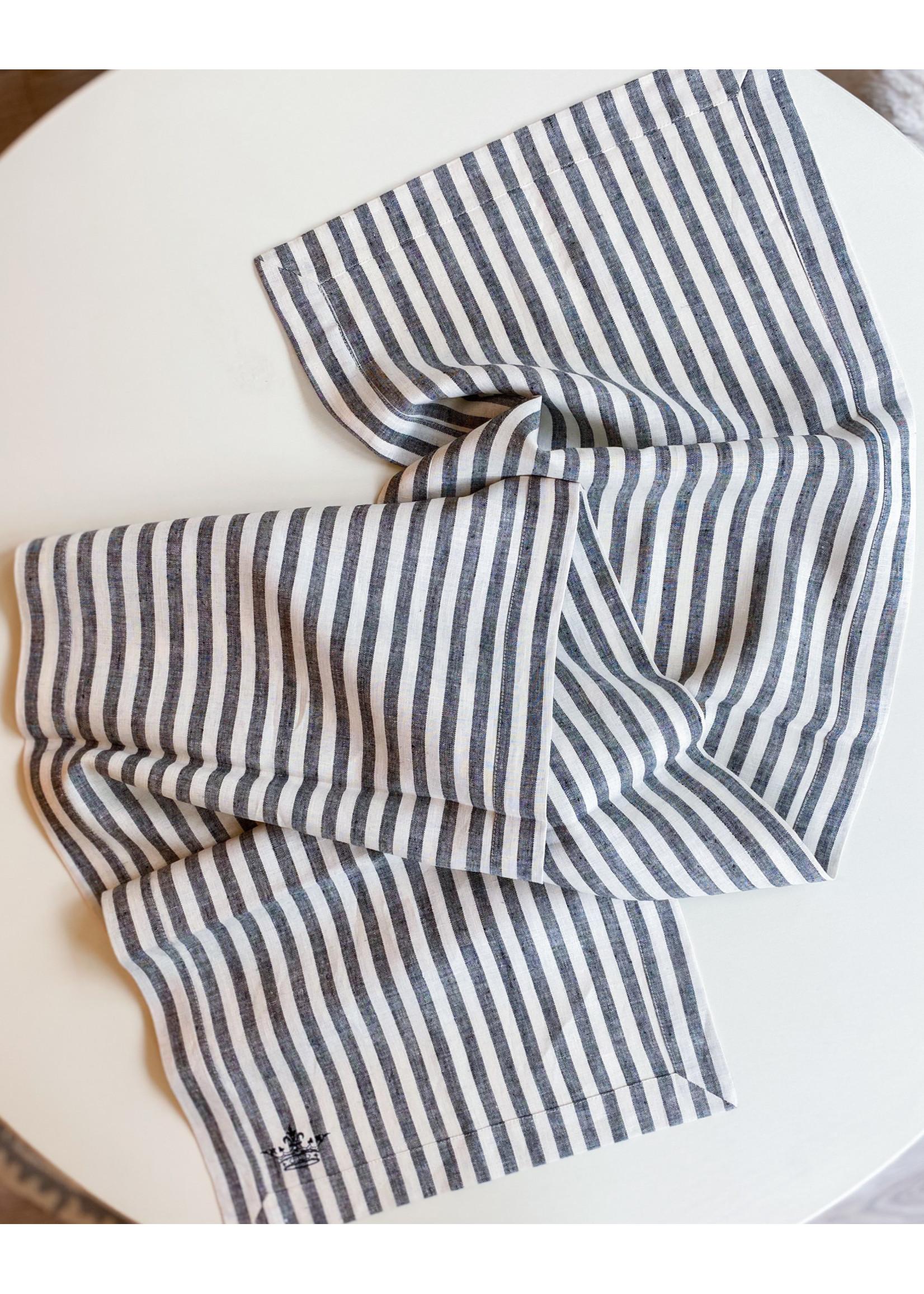 """Crown Linen Runner - Plain - Stripe - Black & White - 90"""""""