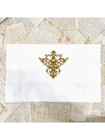 "Crown Linen Runner - Victorian - White/Gold 90"""