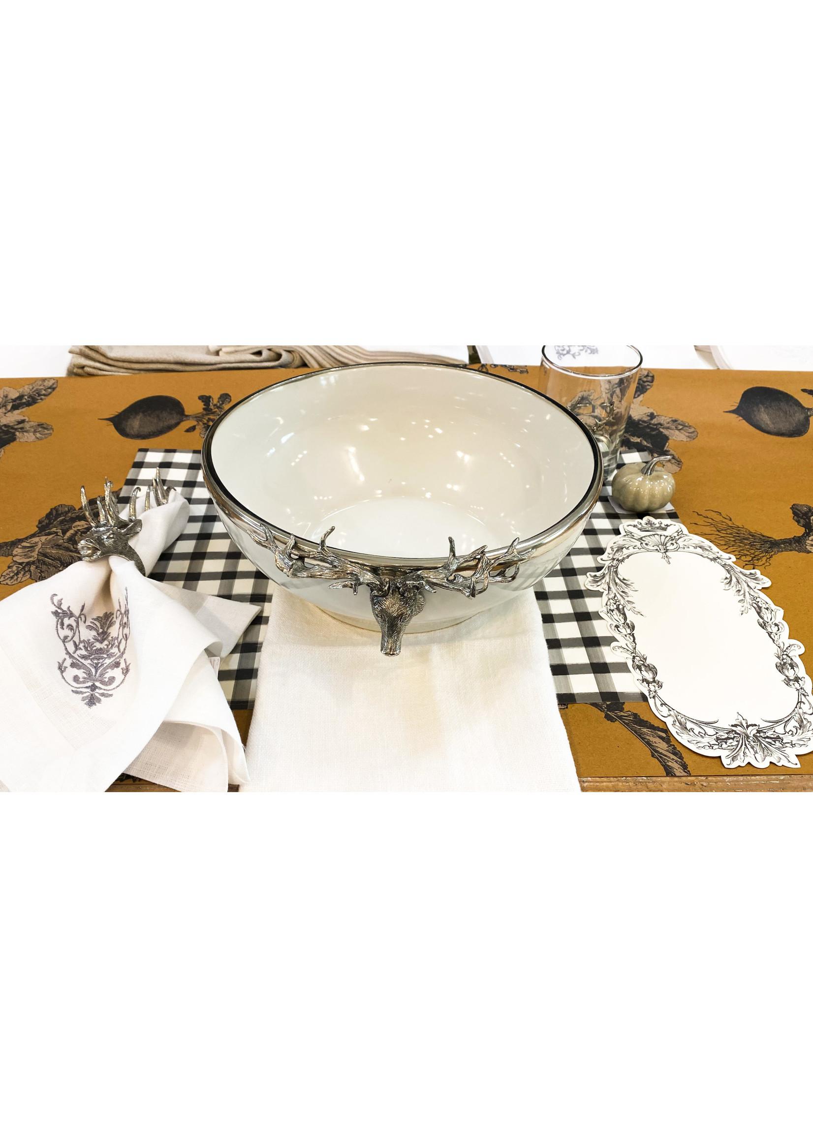 Serving Bowl - Stoneware Elk Head