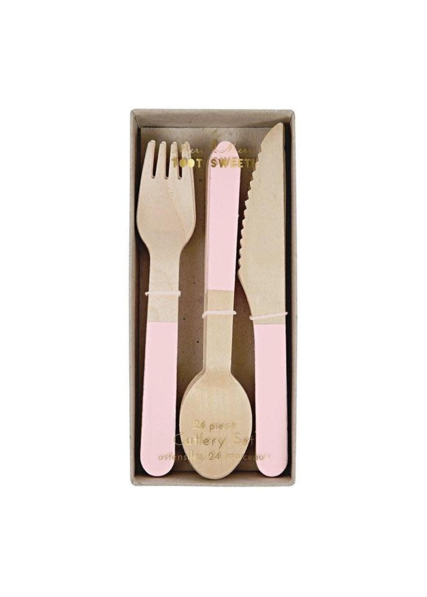 Meri Meri Wooden Cutlery Set - Pink