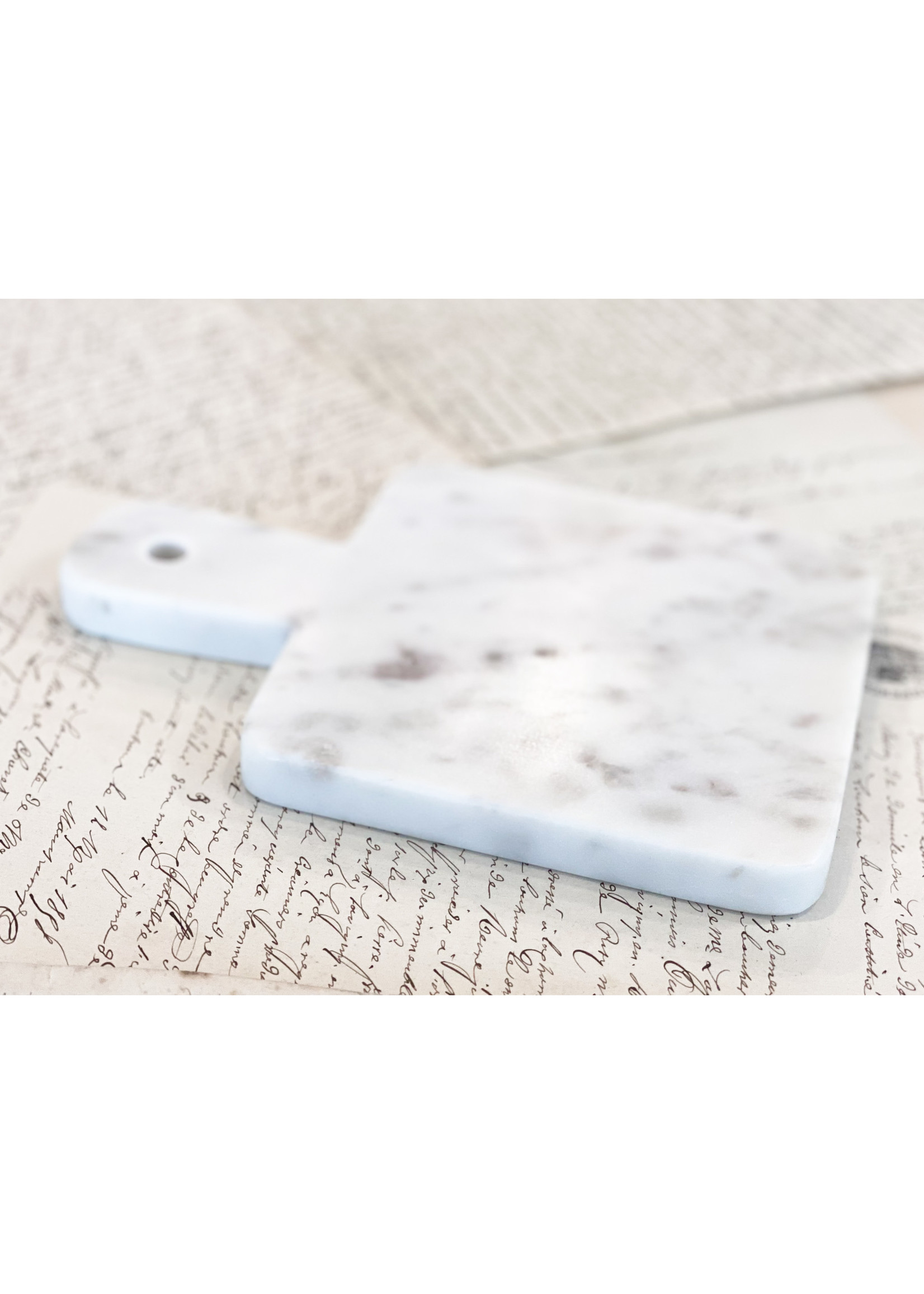 White Marble Board - Square with Handle - Mini