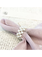 Crown Linen Napkin Ring Set - Pearl with Teardrop (set of 4)