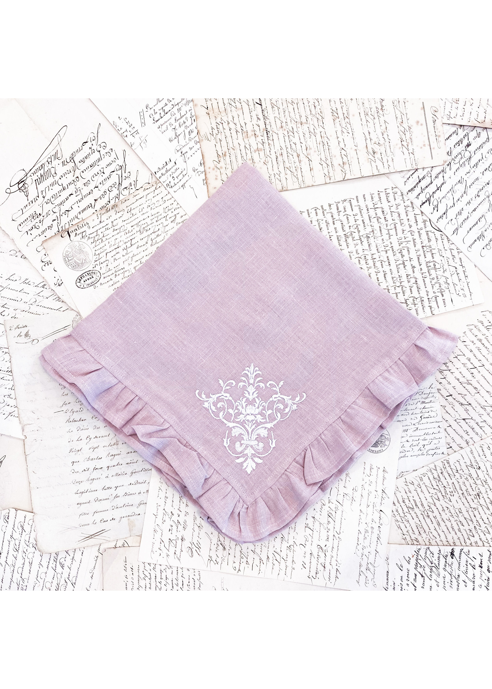 Crown Linen Large Napkin - Victorian Dusty Pink with Ruffle