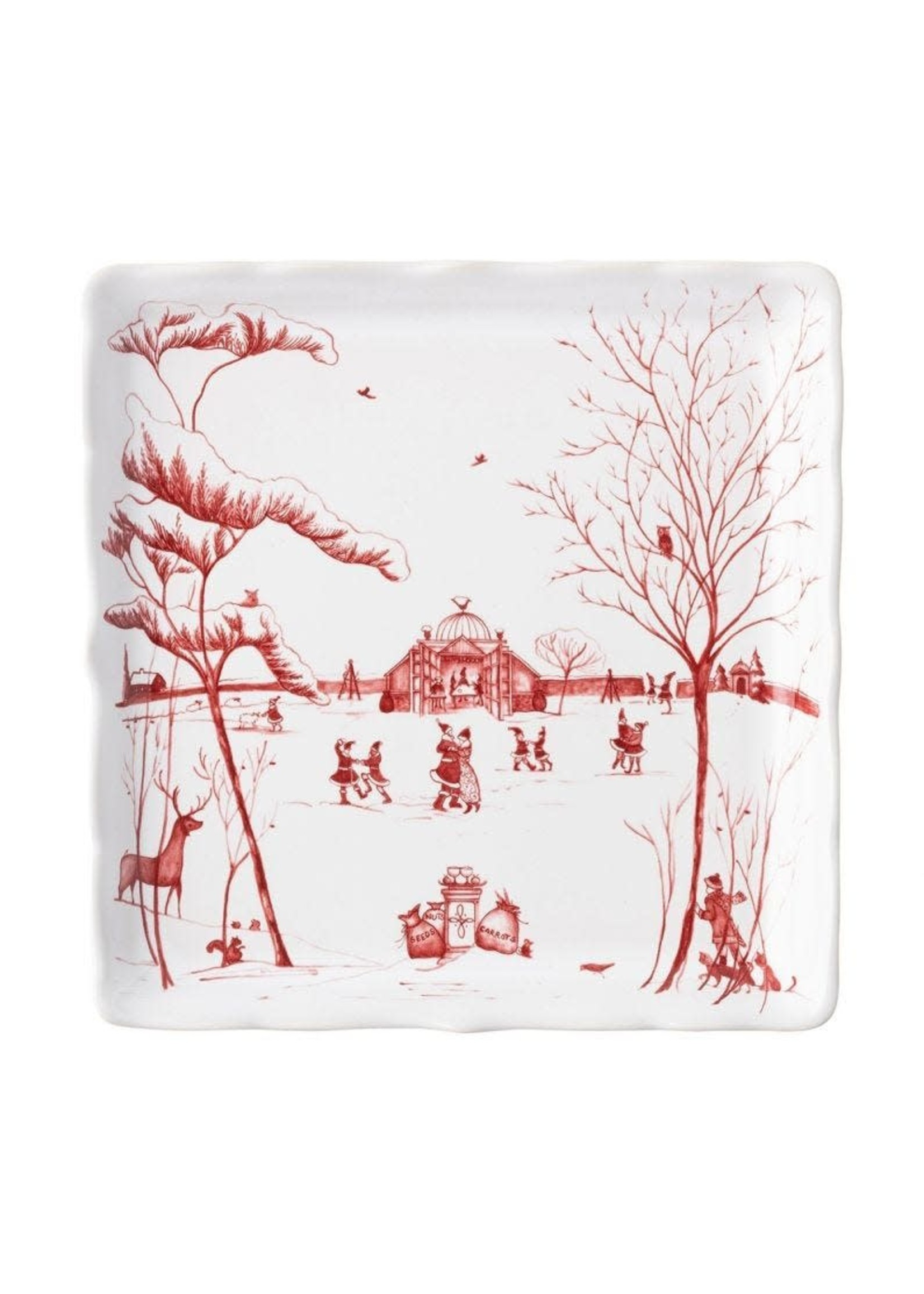 """Juliska Country Estate - Ruby - Sweets Tray - Winter Frolic - """"Mr. & Mrs. Claus"""""""