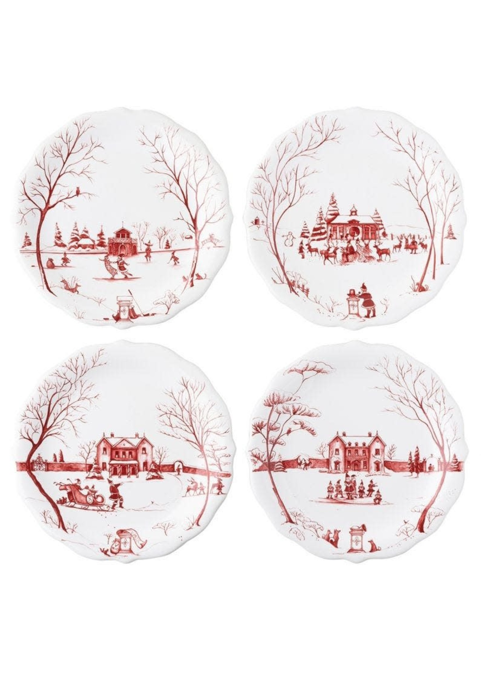 """Juliska Country Estate - Ruby - Party Plates - Winter Frolic - """"Mr. & Mrs. Claus"""" (set of 4)"""