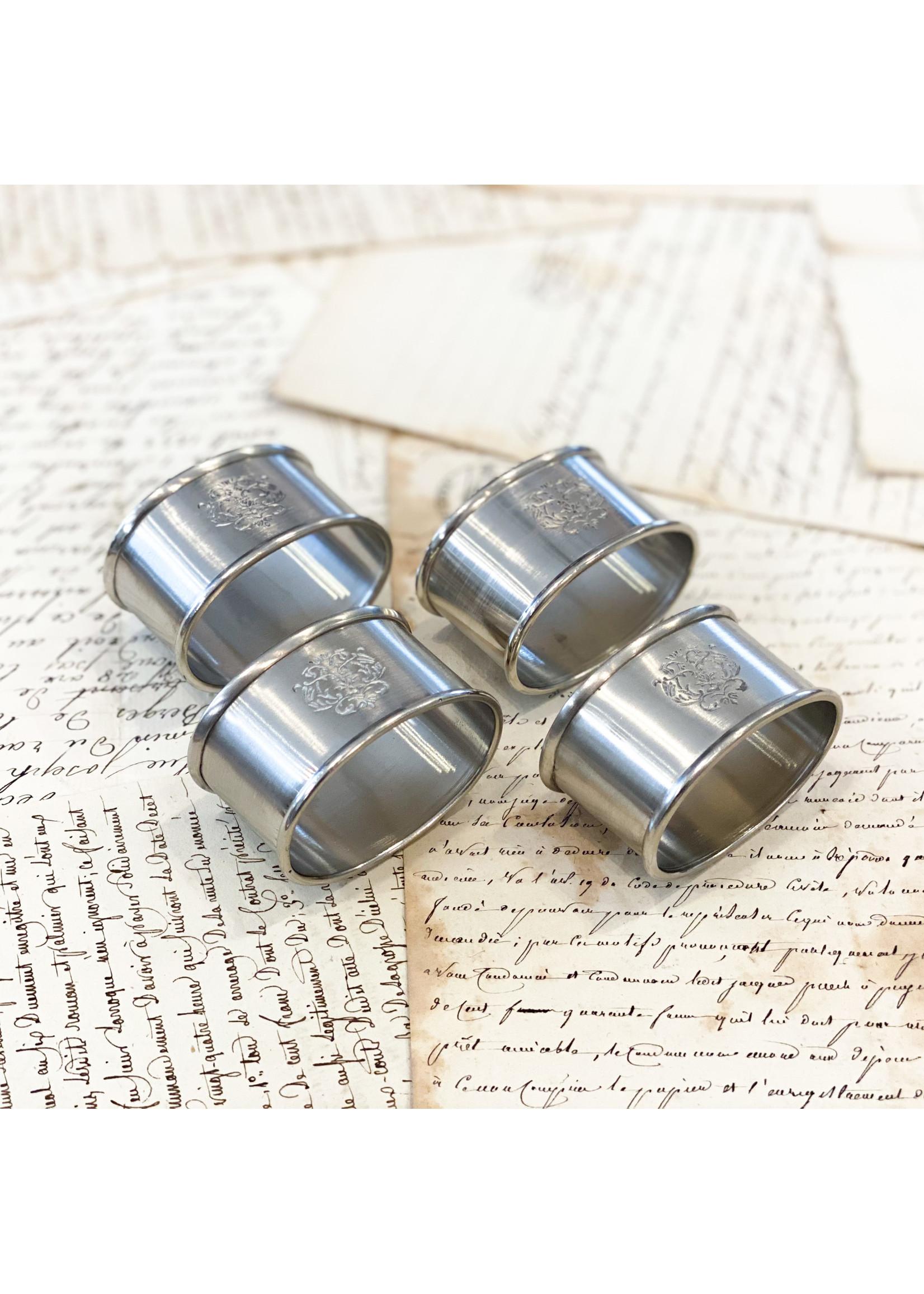 Crown Linen Napkin Ring Set - Damask (set of 4)