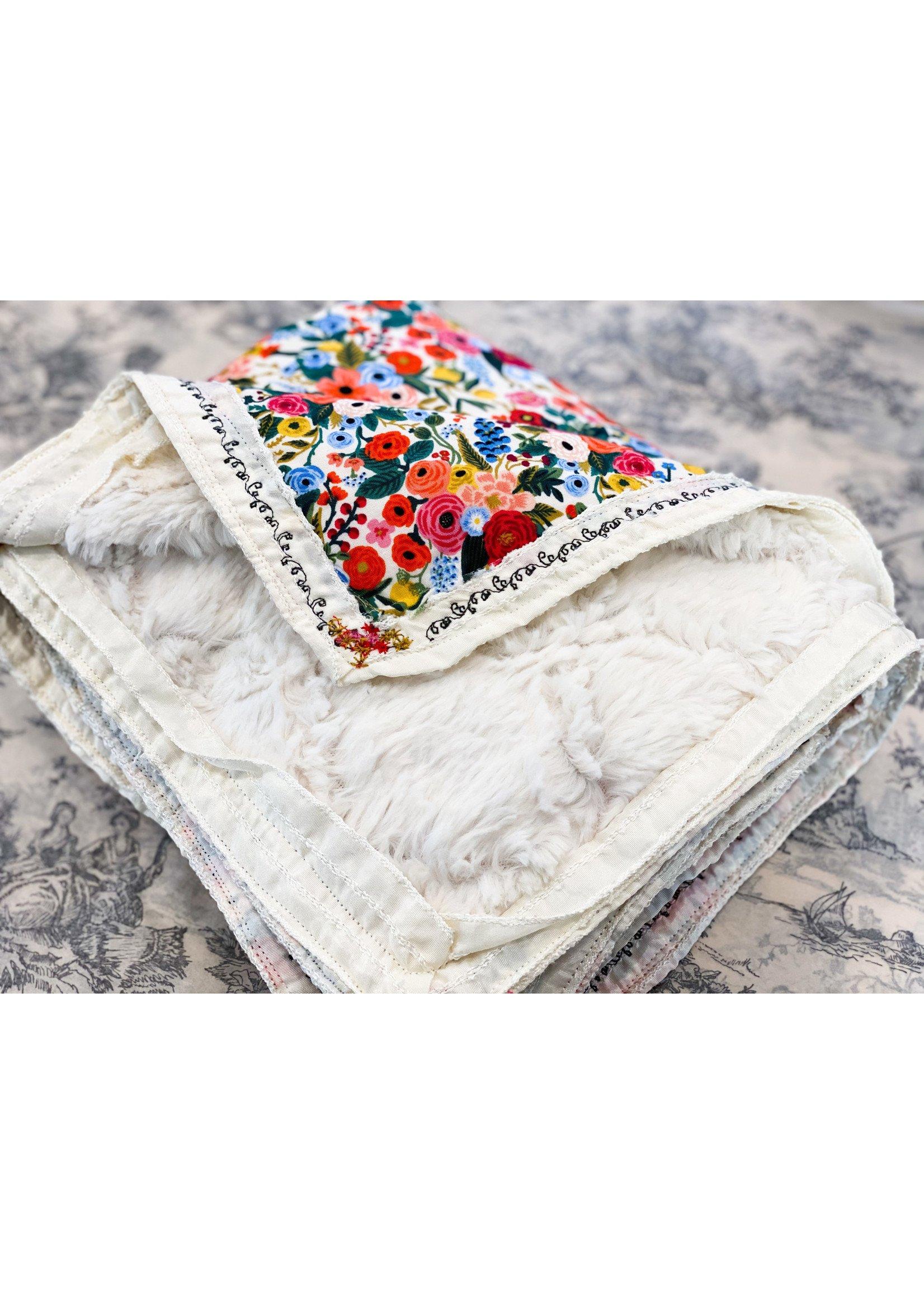 Baby Blanket - Locally Handmade Jewel Tone - Embroidered Edge