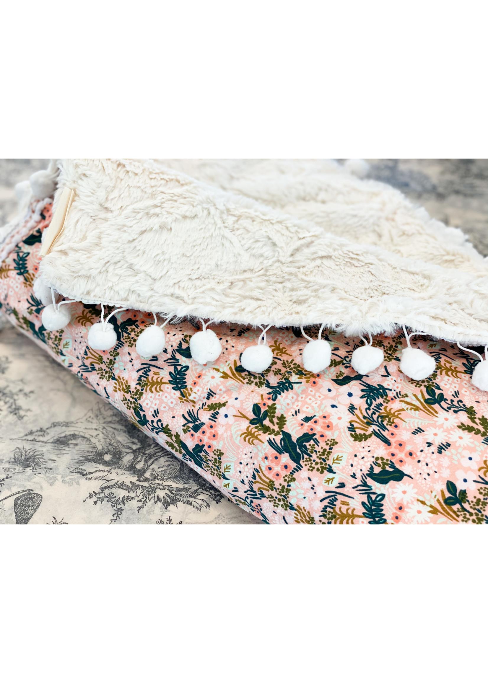 Baby Blanket - Locally Handmade Pastel - Pom Pom Edge