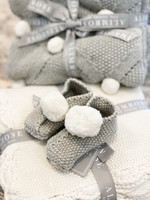 Baby Slippers Grey & Ivory