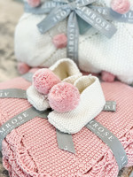 Baby Slippers Ivory & Pink