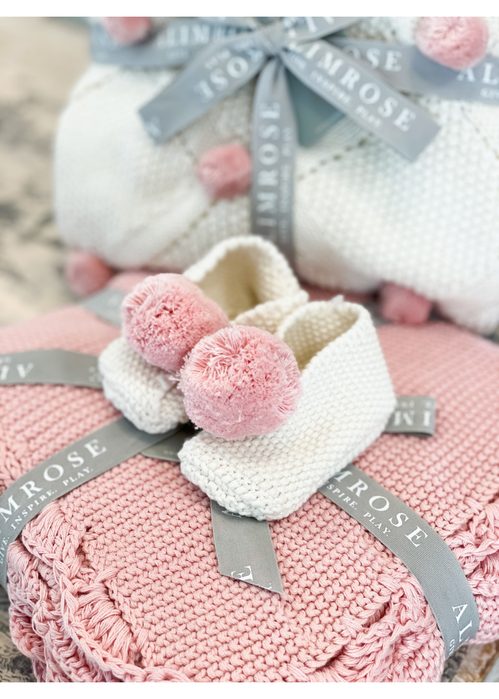 Baby Slippers - Ivory & Pink