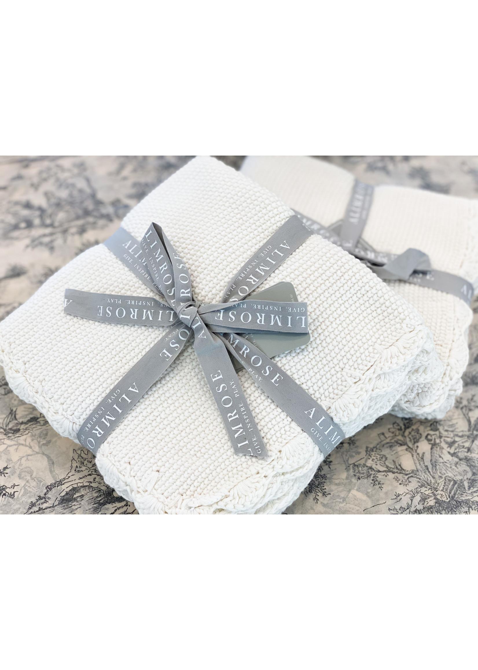 Organic Cotton Mini Moss Stitch Baby Blanket Ivory