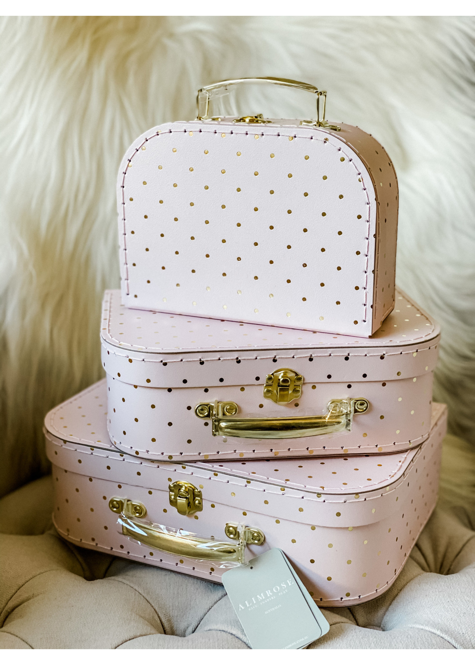 Suitcase Pink w/ Gold Dots