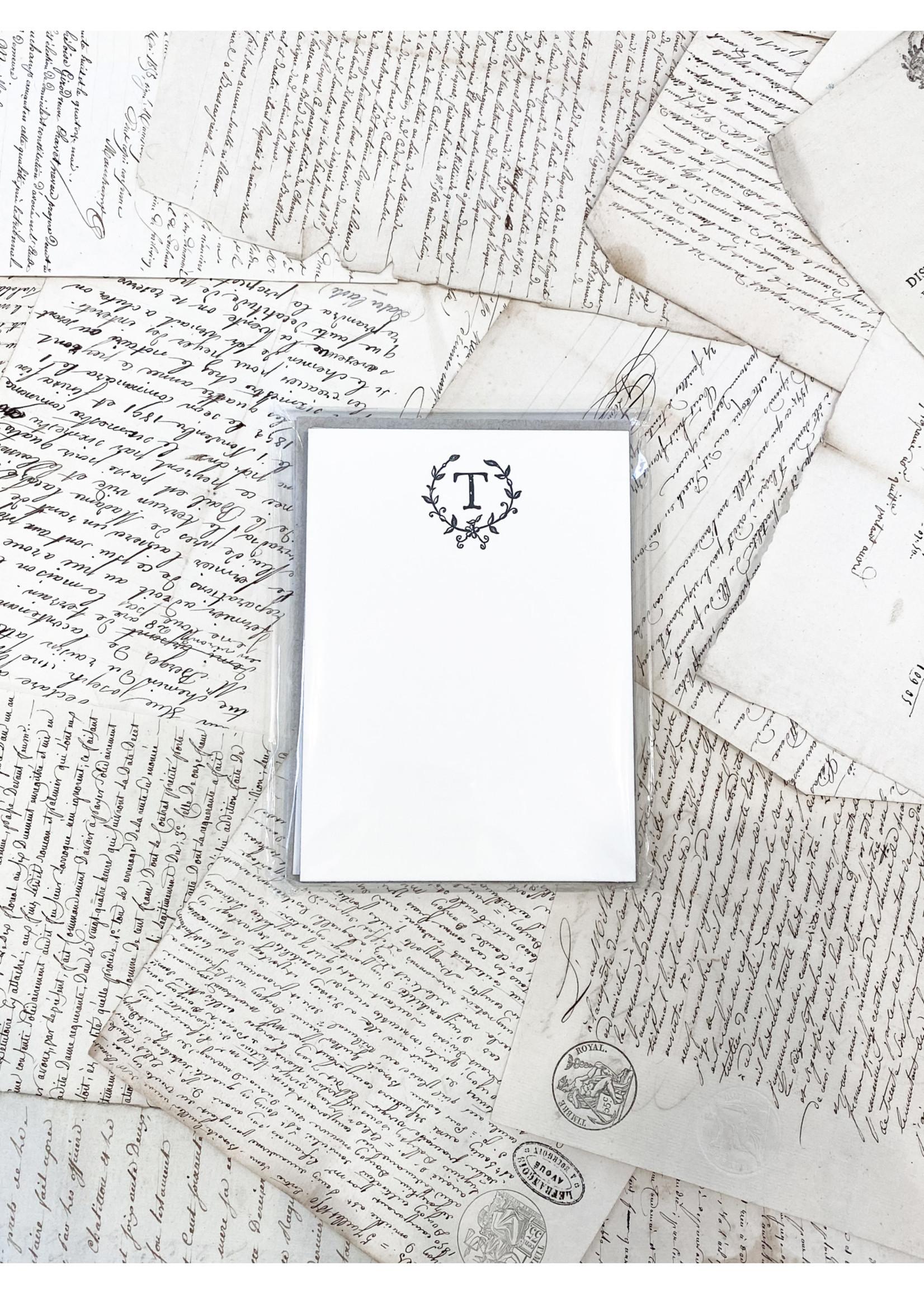 Monogram Cards - T (set of 6)