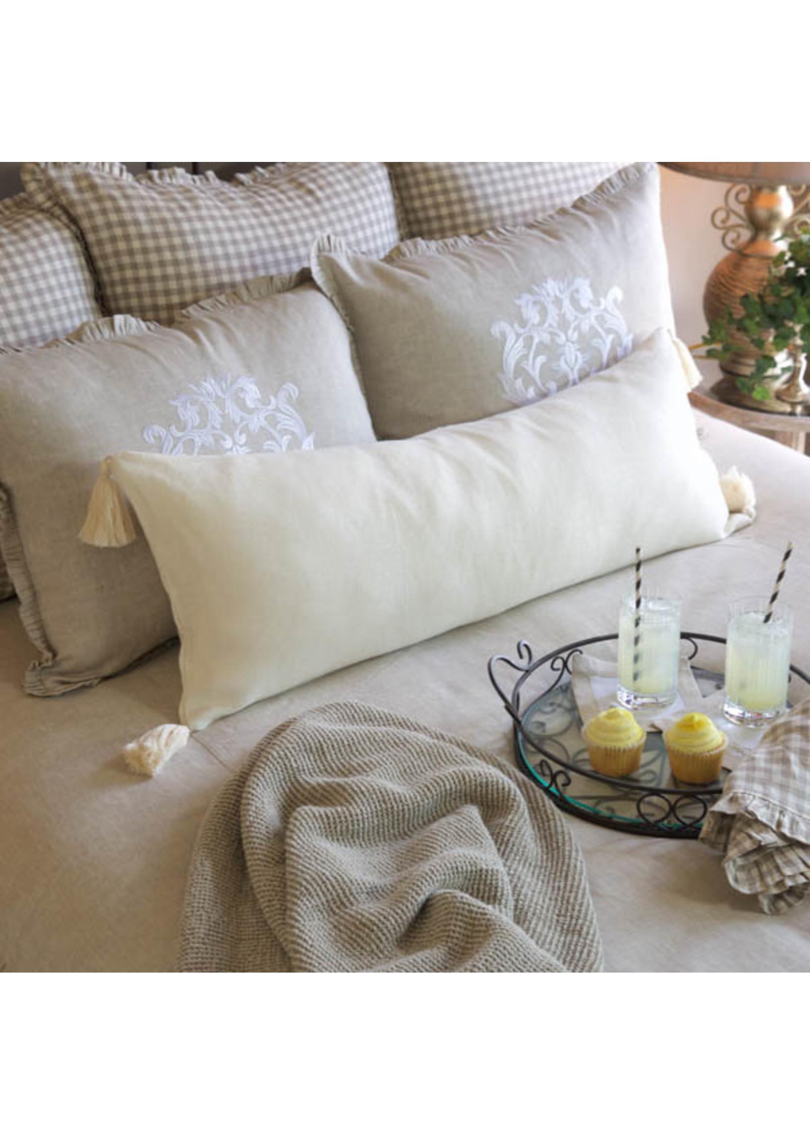 Crown Linen Lumbar Pillow - Linen Cream Tassel - 14x34