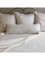 Crown Linen Lumbar Pillow - Linen Natural Tassel - 14x34