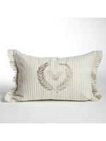 Crown Linen Pillow - Bumble Bee - Flax Stripe Ruffle