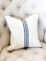 Pillow - Small - Antique Hemp/Linen (blue 3 stripe)