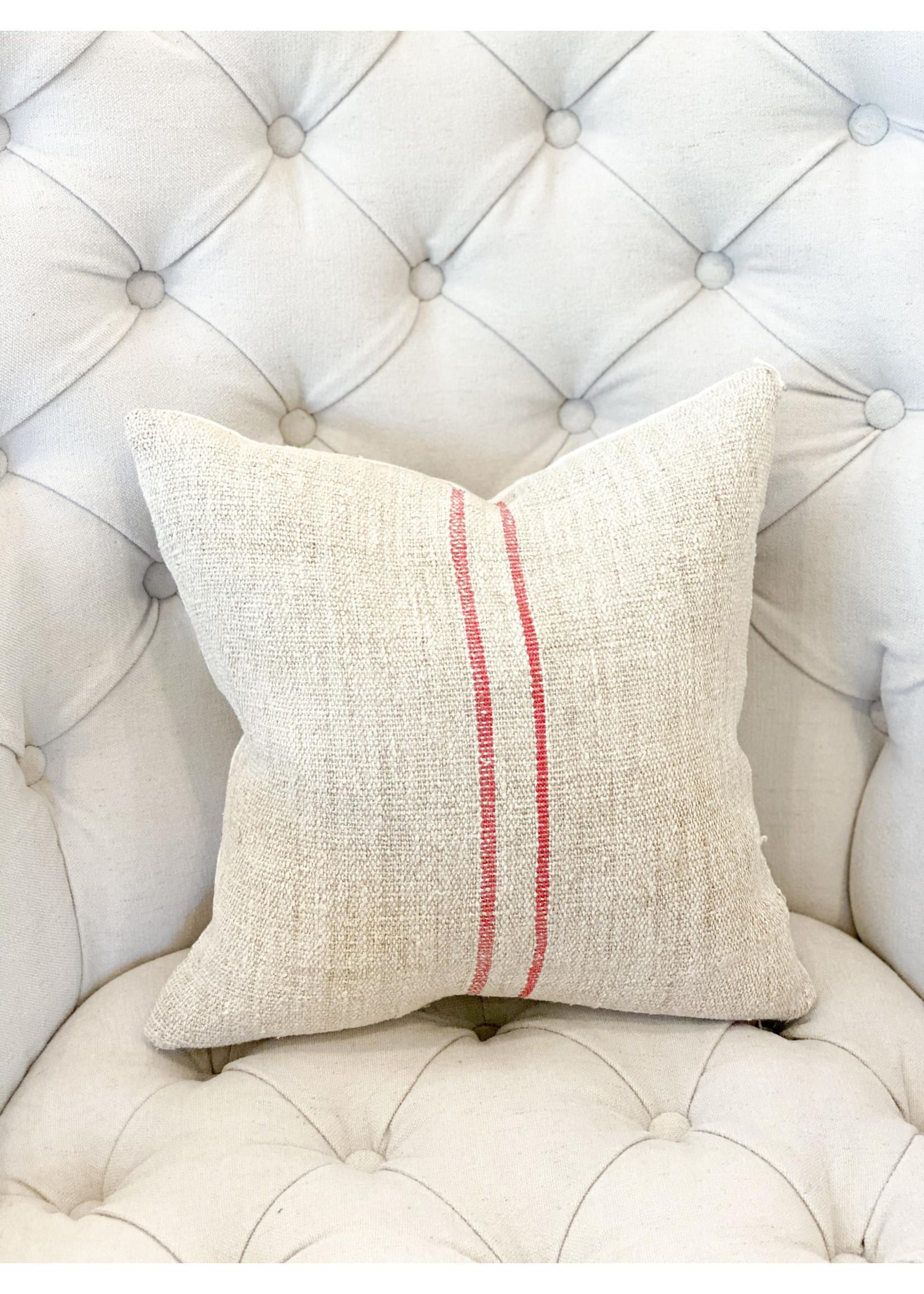 Pillow - Small - Antique Hemp/Linen (red 2 stripe)
