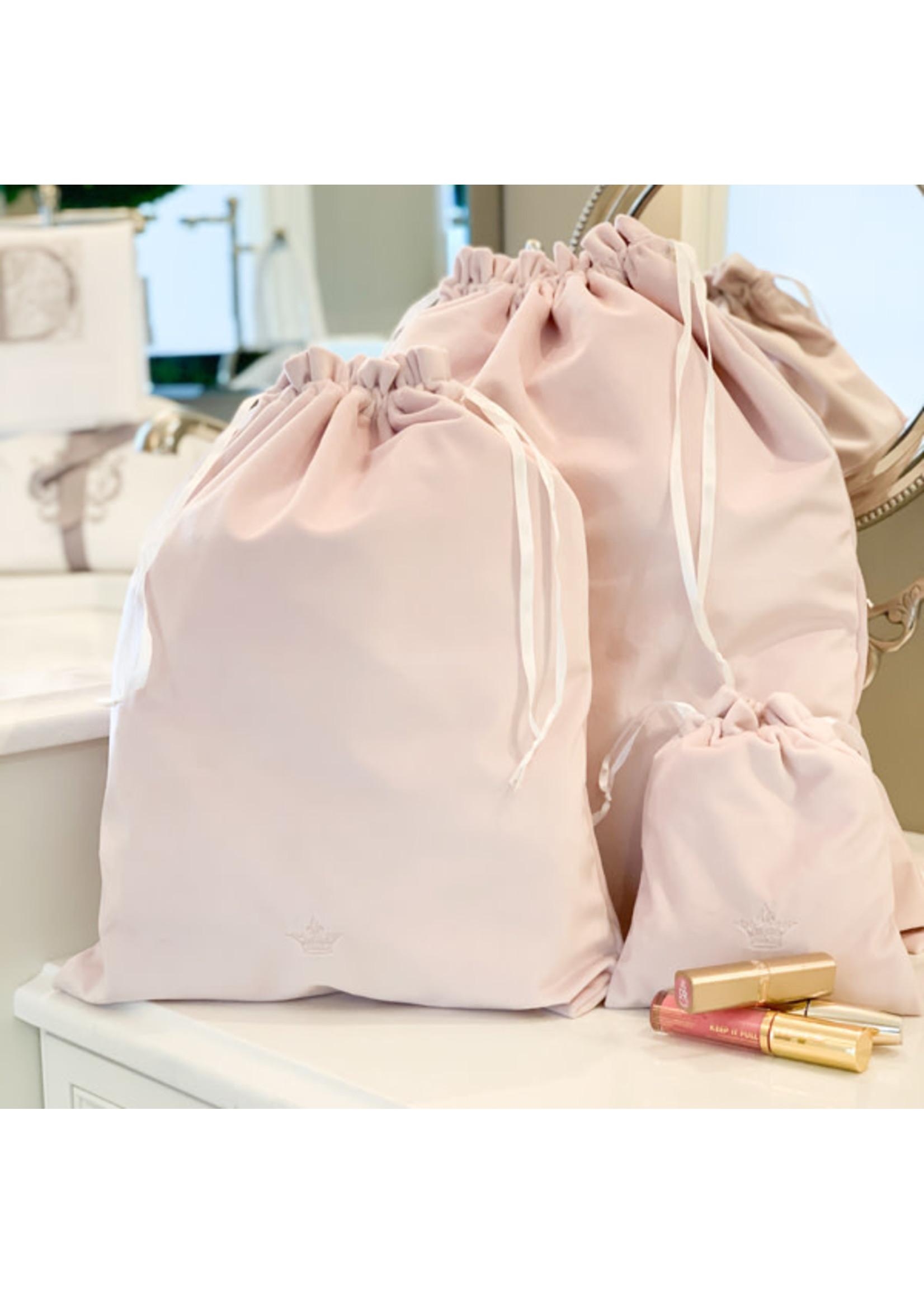 Crown Linen Cinch Bags - Crown - Velvet Pink (set of 3)