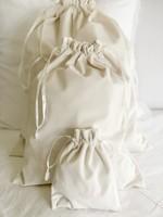 Crown Linen Cinch Bags - Crown - Velvet Cream (set of 3)