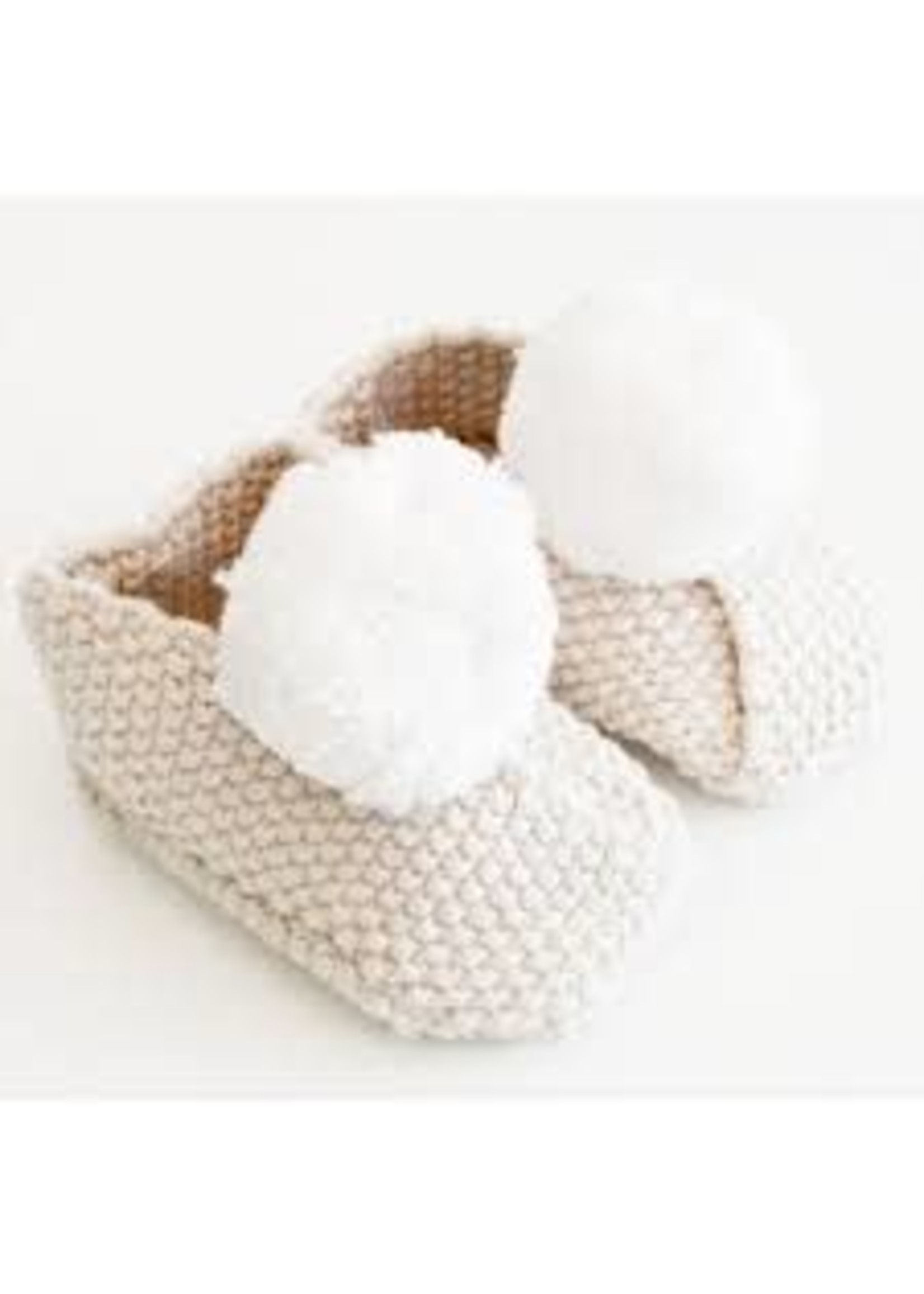 Baby Slippers - Oatmeal & Ivory