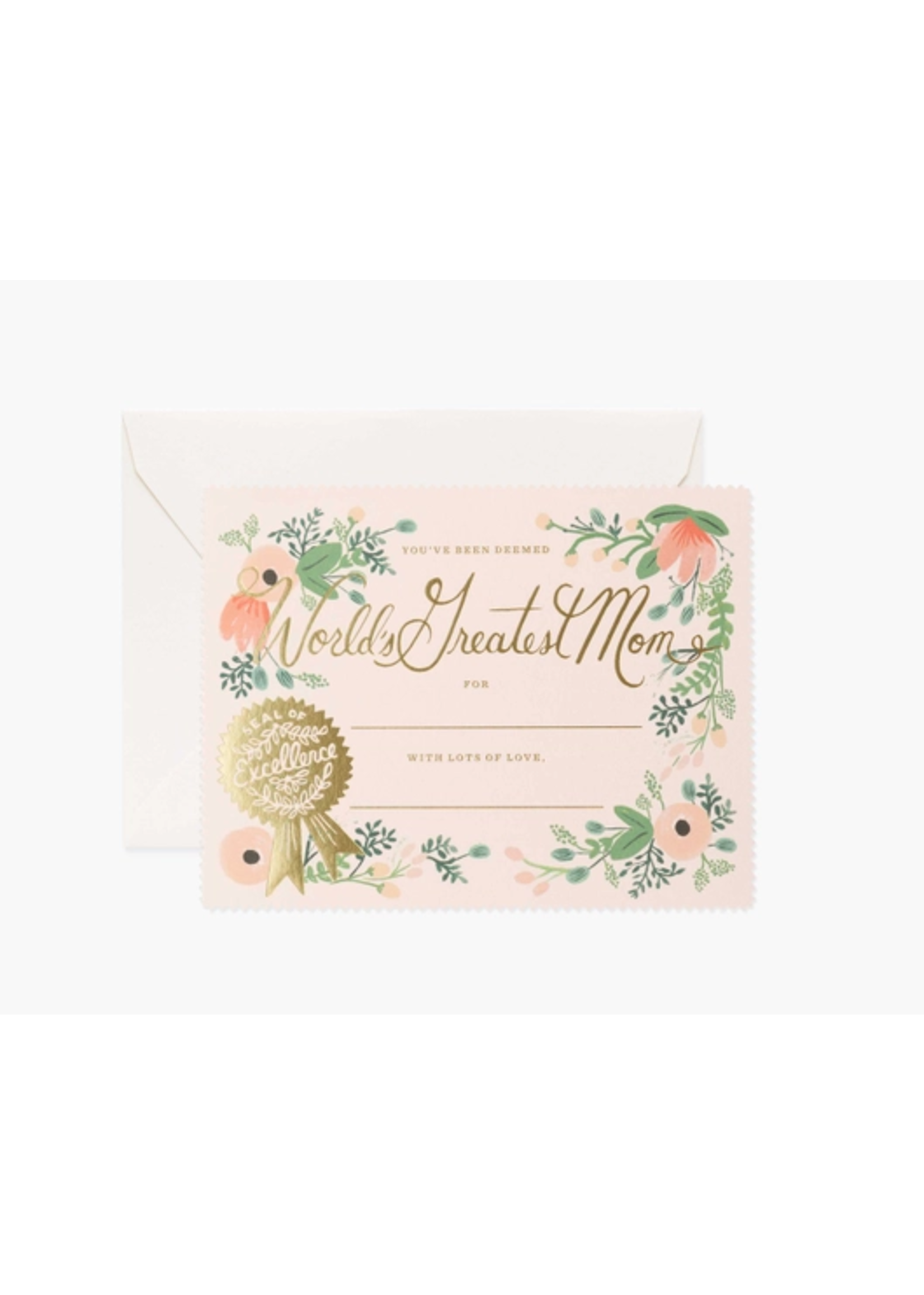 "Rifle Paper Co. Card - ""Greatest Mom Certificate"""
