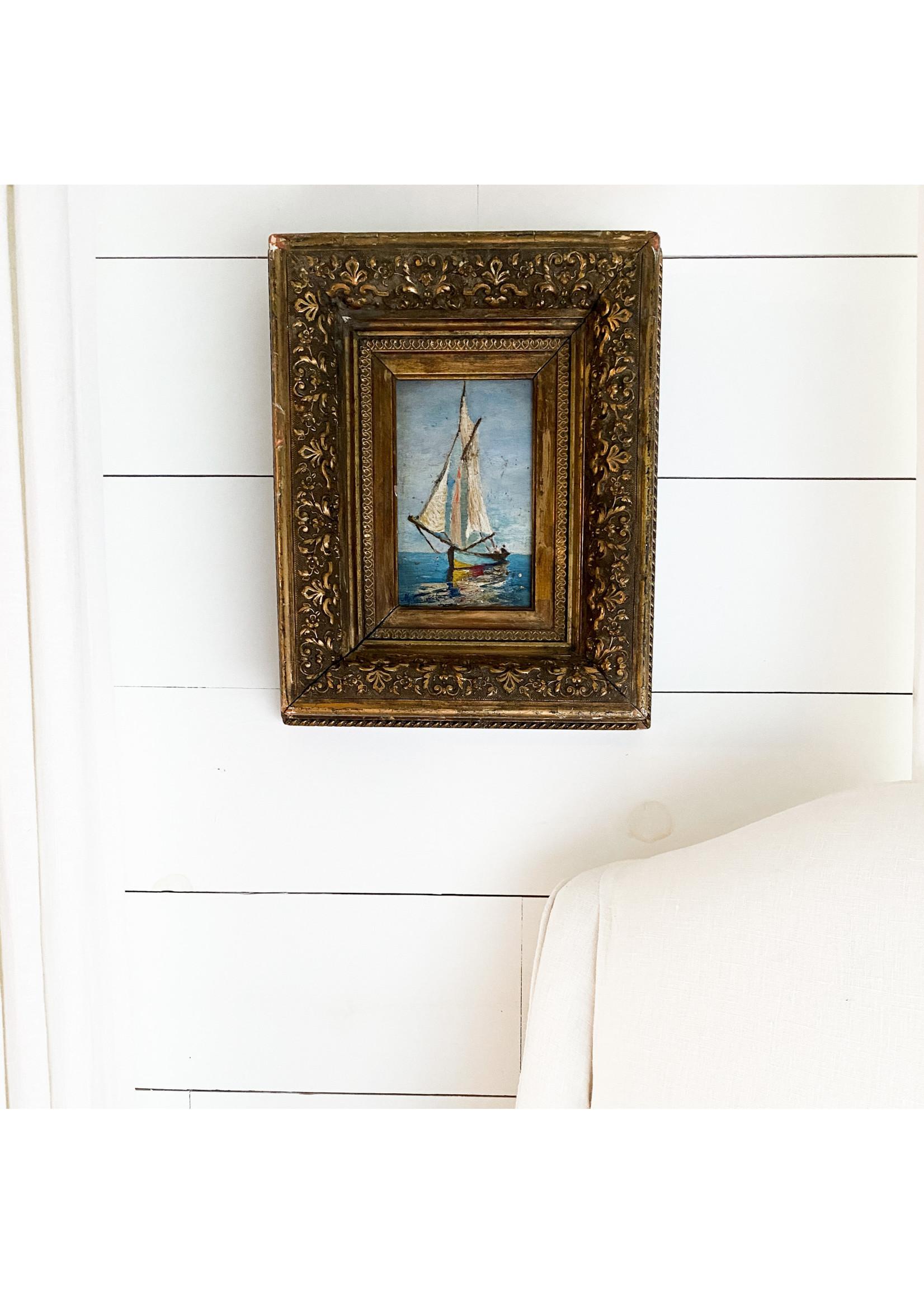 Antique Antique Sailboat Painting